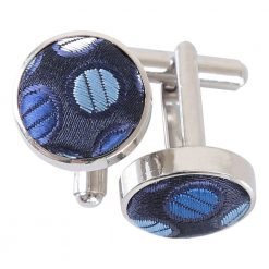 Blue, Silver & Royal Chequered Polka Dot Cufflinks