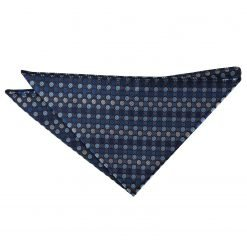 Blue, Silver & Royal Chequered Polka Dot Handkerchief / Pocket Square