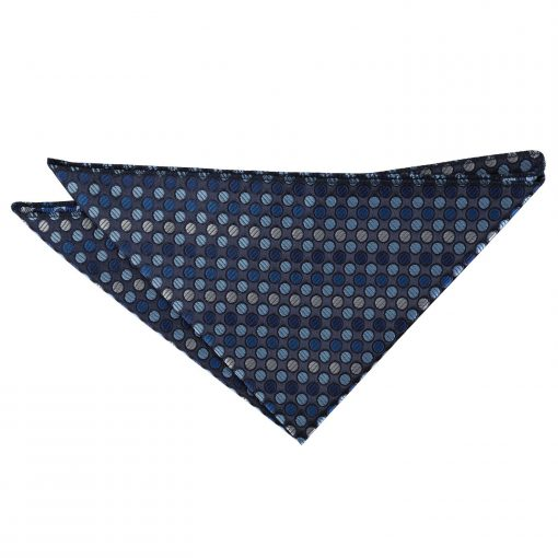 Blue, Silver & Royal Chequered Polka Dot Pocket Square