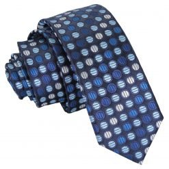 Blue, Silver & Royal Chequered Polka Dot Skinny Tie