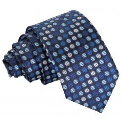 Blue, Silver & Royal Chequered Polka Dot Slim Tie