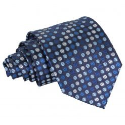Blue, Silver & Royal Chequered Polka Dot Classic Tie
