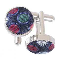 Burgundy, Blue & Green Chequered Polka Dot Cufflinks