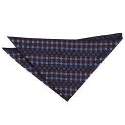 Burgundy, Blue & Green Chequered Polka Dot Handkerchief / Pocket Square