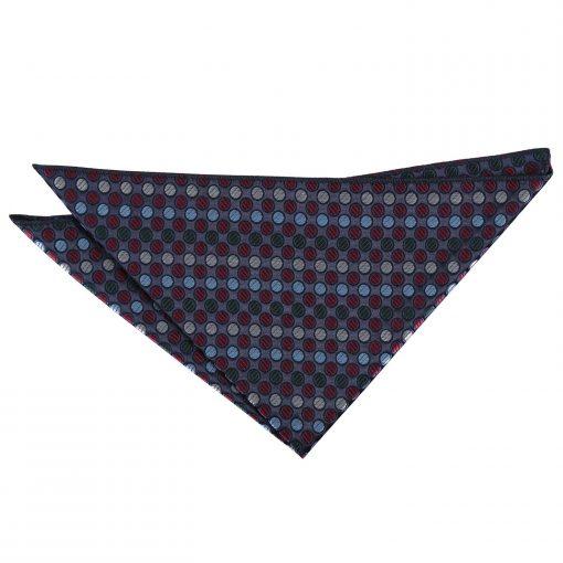 Burgundy, Blue & Green Chequered Polka Dot Pocket Square