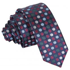 Burgundy, Blue & Green Chequered Polka Dot Skinny Tie