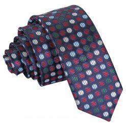 Burgundy, Blue & Green Chequered Polka Dot Skinny Tie