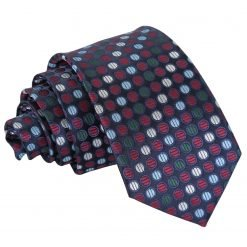Burgundy, Blue & Green Chequered Polka Dot Slim Tie