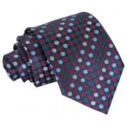 Burgundy, Blue & Green Chequered Polka Dot Classic Tie