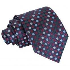 Burgundy, Blue & Green Chequered Polka Dot Classic Tie
