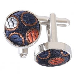 Gold, Silver & Orange Chequered Polka Dot Cufflinks