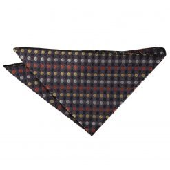 Gold, Silver & Orange Chequered Polka Dot Handkerchief / Pocket Square