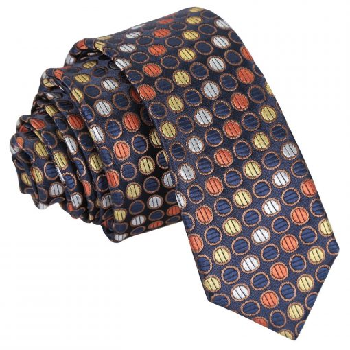 Gold, Silver & Orange Chequered Polka Dot Skinny Tie