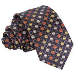 Gold, Silver & Orange Chequered Polka Dot Slim Tie