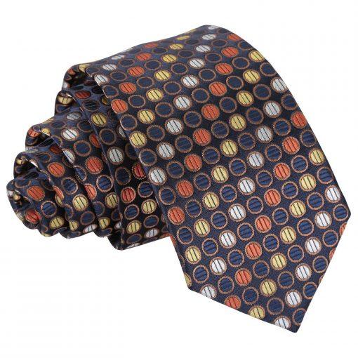 Gold, Silver & Orange Chequered Polka Dot Slim Tie