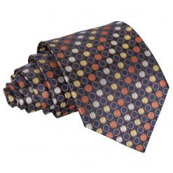 Gold, Silver & Orange Chequered Polka Dot Classic Tie