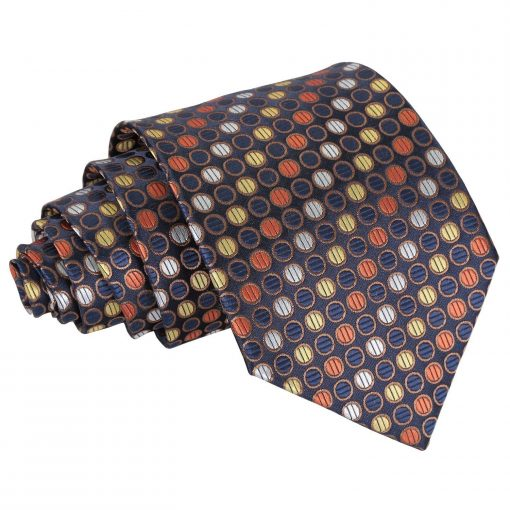 Gold, Silver & Orange Chequered Polka Dot Classic Tie