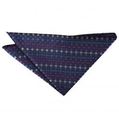 Purple, Blue & Pink Chequered Polka Dot Handkerchief / Pocket Square