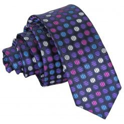 Purple, Blue & Pink Chequered Polka Dot Skinny Tie