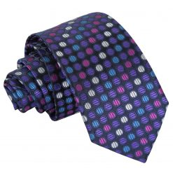 Purple, Blue & Pink Chequered Polka Dot Slim Tie