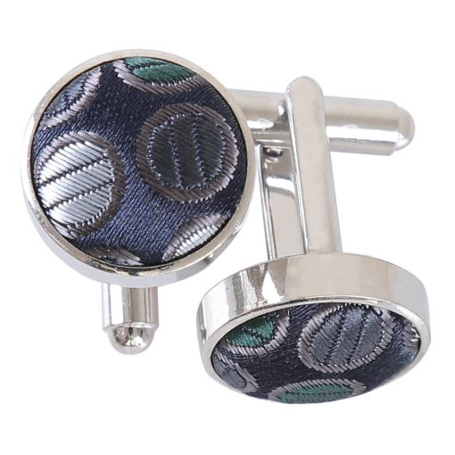 Silver, Grey & Green Chequered Polka Dot Cufflinks