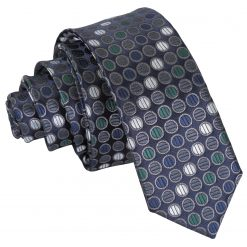 Silver, Grey & Green Chequered Polka Dot Skinny Tie