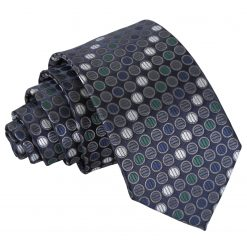 Silver, Grey & Green Chequered Polka Dot Slim Tie