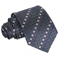 Silver, Grey & Green Chequered Polka Dot Classic Tie