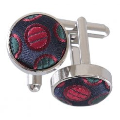 Silver, Red & Gold Chequered Polka Dot Cufflinks