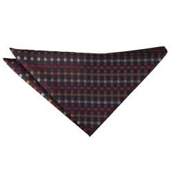 Silver, Red & Gold Chequered Polka Dot Handkerchief / Pocket Square