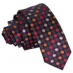 Silver, Red & Gold Chequered Polka Dot Skinny Tie