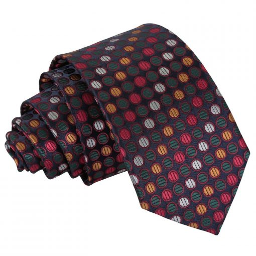 Silver, Red & Gold Chequered Polka Dot Slim Tie