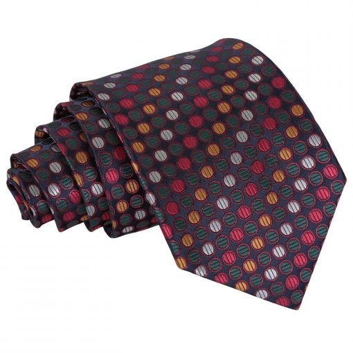 Silver, Red & Gold Chequered Polka Dot Classic Tie