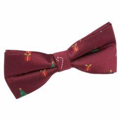 Burgundy Christmas Bow Tie