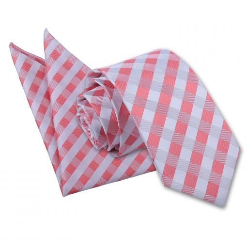 Coral Gingham Check Tie & Pocket Square Set