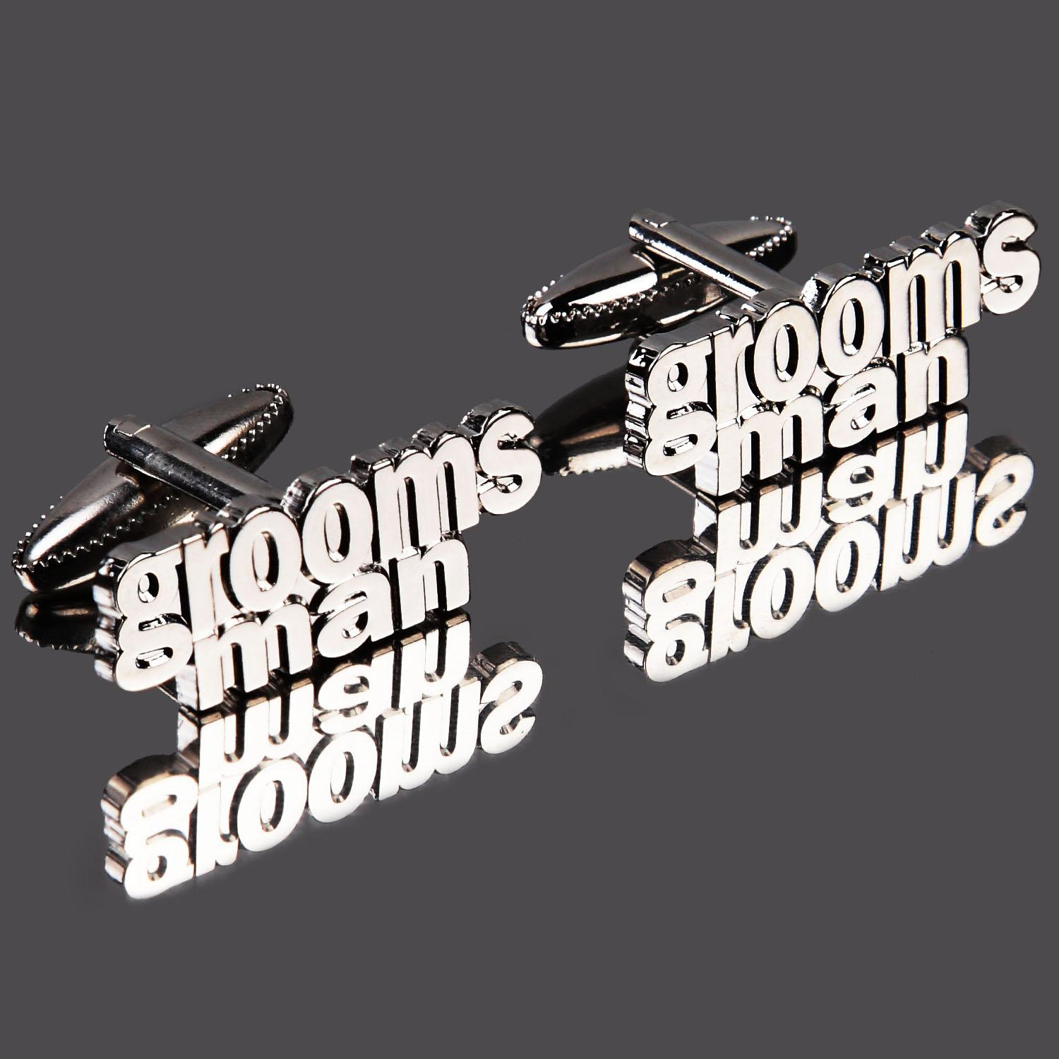 Grooms Man Cut Out Words Wedding Cufflinks