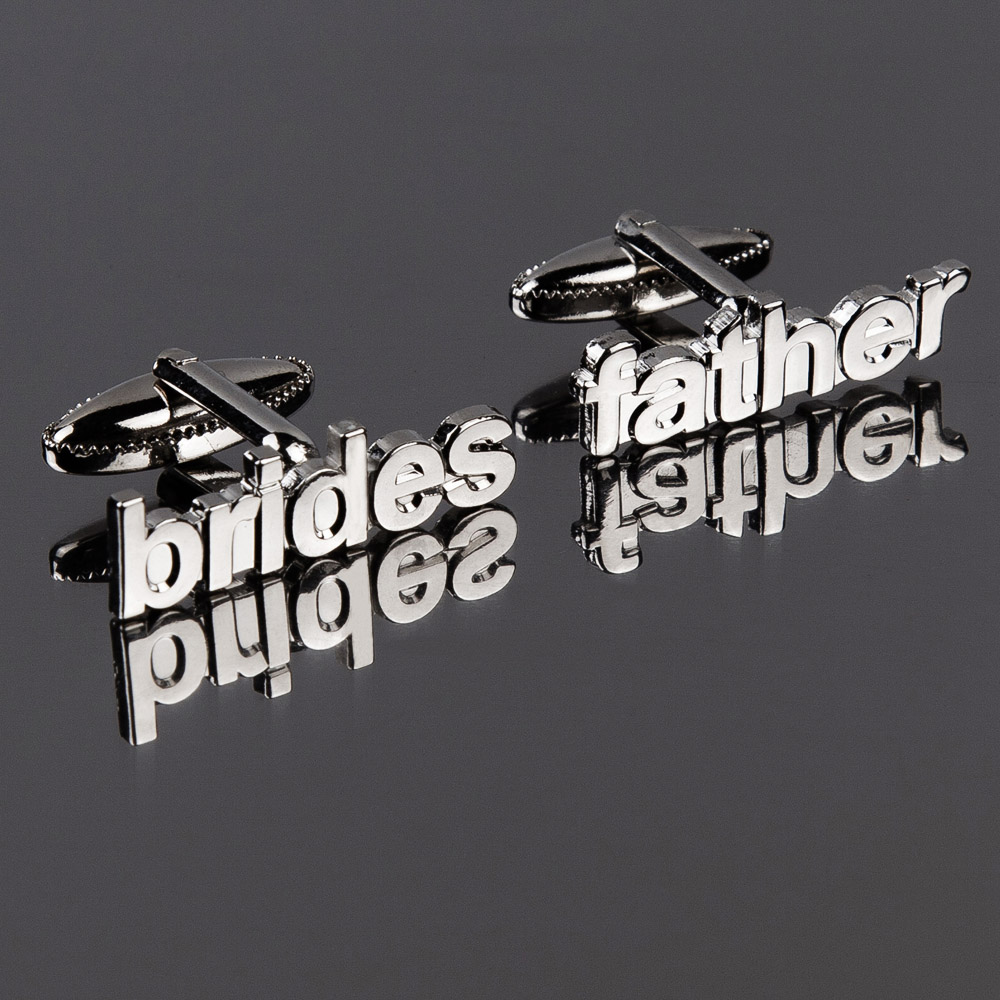 Brides Father Cut Out Words Wedding Cufflinks