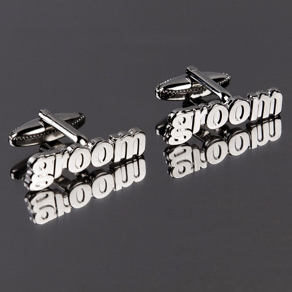 Groom Cut Out Words Wedding Cufflinks
