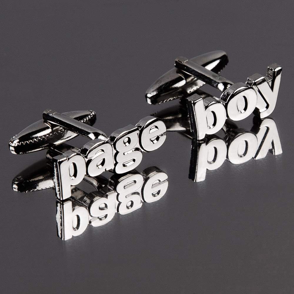 Page Boy Cut Out Words Wedding Cufflinks