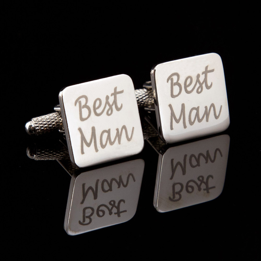 Best Man Laser Wedding Cufflinks