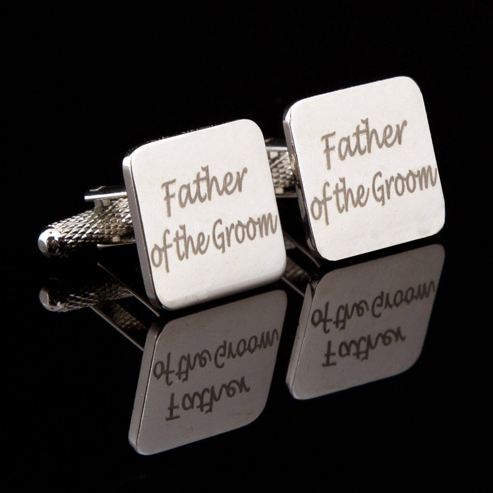 Father of the Groom Laser Wedding Cufflinks