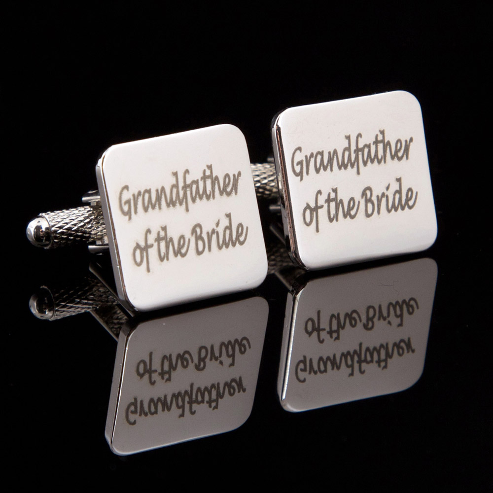 Grandfather of the Bride Laser Wedding Cufflinks
