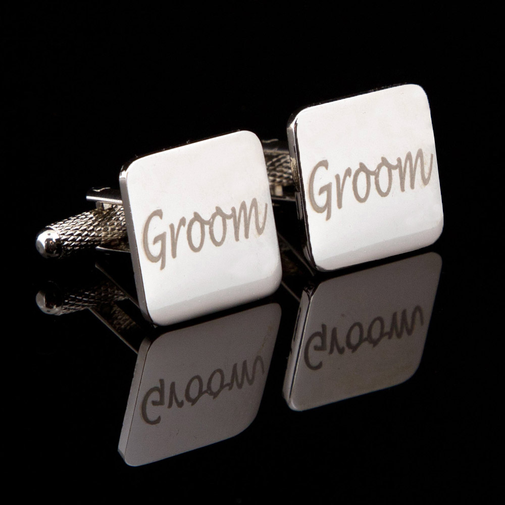 Accessories Groom Laser Wedding Cufflinks