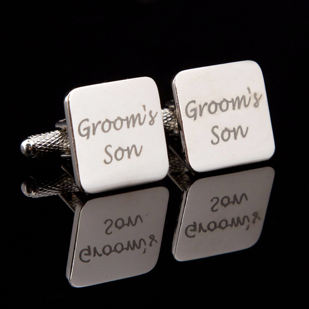 Grooms Son Laser Wedding Cufflinks