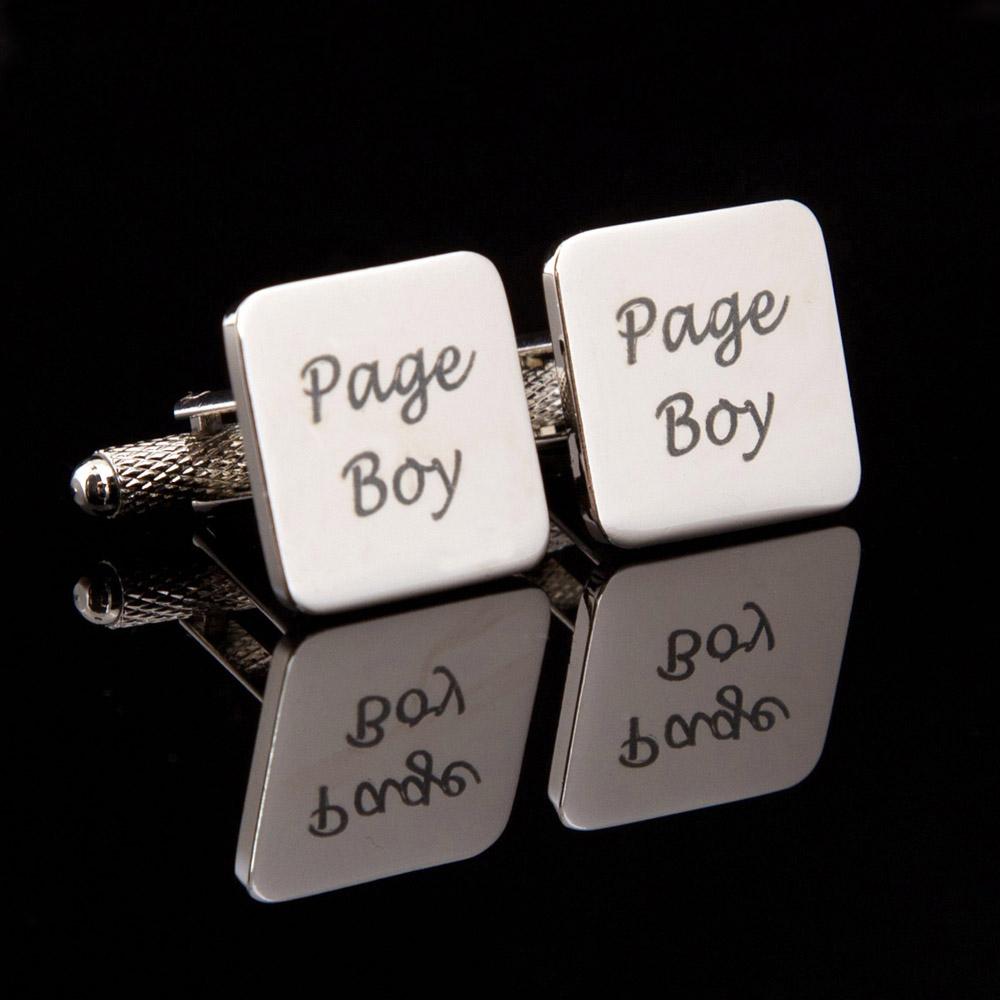 Page Boy Laser Wedding Cufflinks