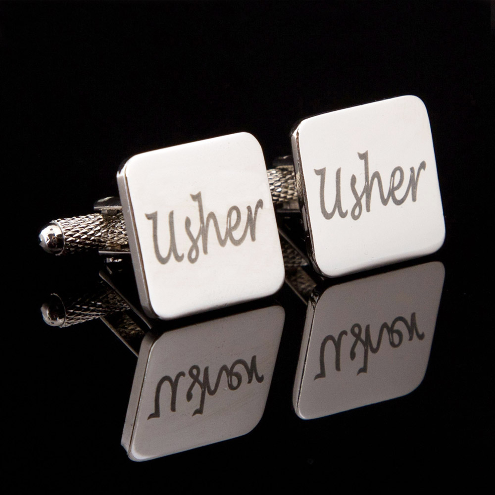 Usher Laser Wedding Cufflinks