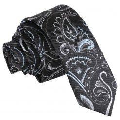 Black & Silver Cypress Paisley Skinny Tie