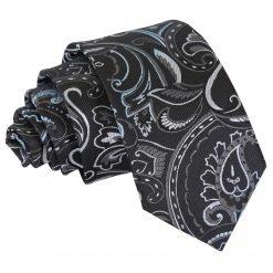 Black & Silver Cypress Paisley Slim Tie