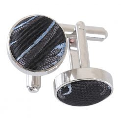 Black & Silver Cypress Paisley Cufflinks
