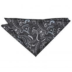 Black & Silver Cypress Paisley Pocket Square